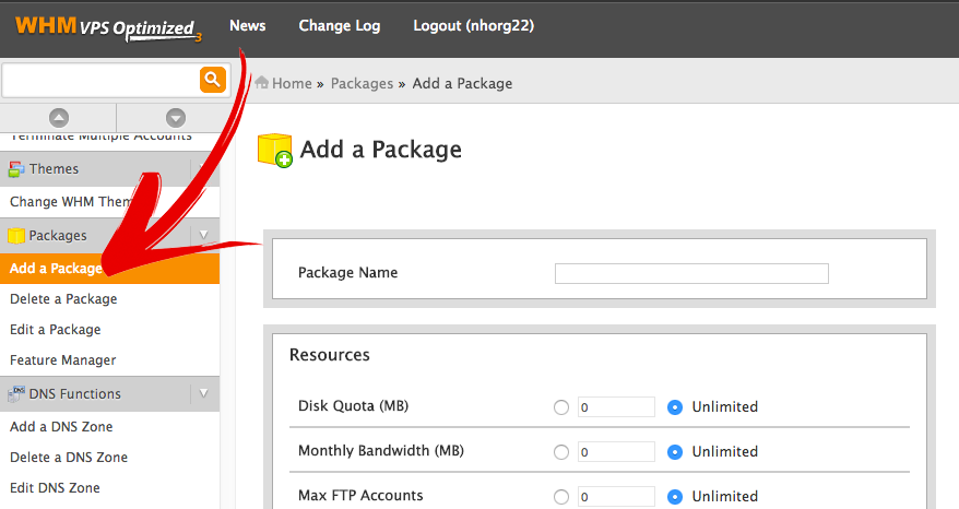 Add Package In Web Host Manager