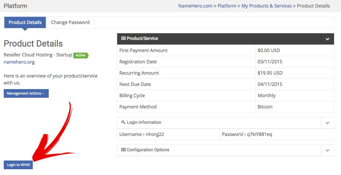 Web Host Manager login