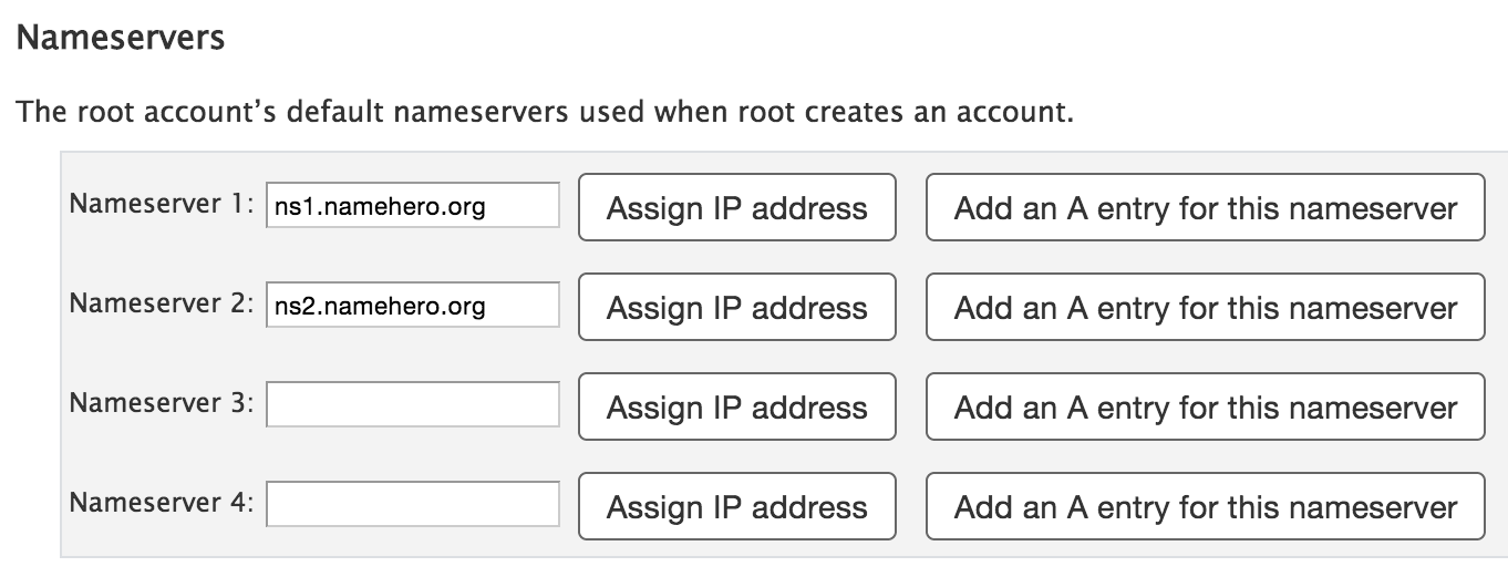 Setup Nameservers