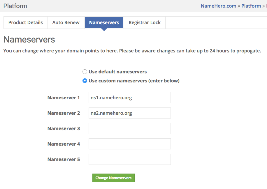 Custom Name Servers
