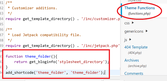 Add Code to Functions php