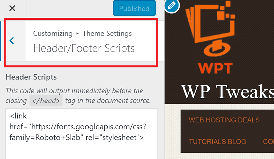 Header Scripts Theme Settings if Available