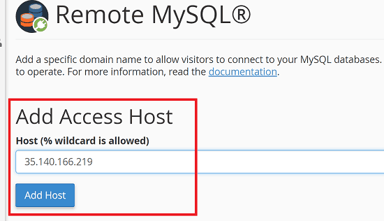 Add Access Host