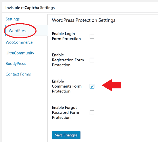 Enable Protection on Comment Forms