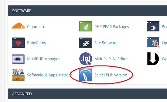 Choose PHP Version Manager in cPanel