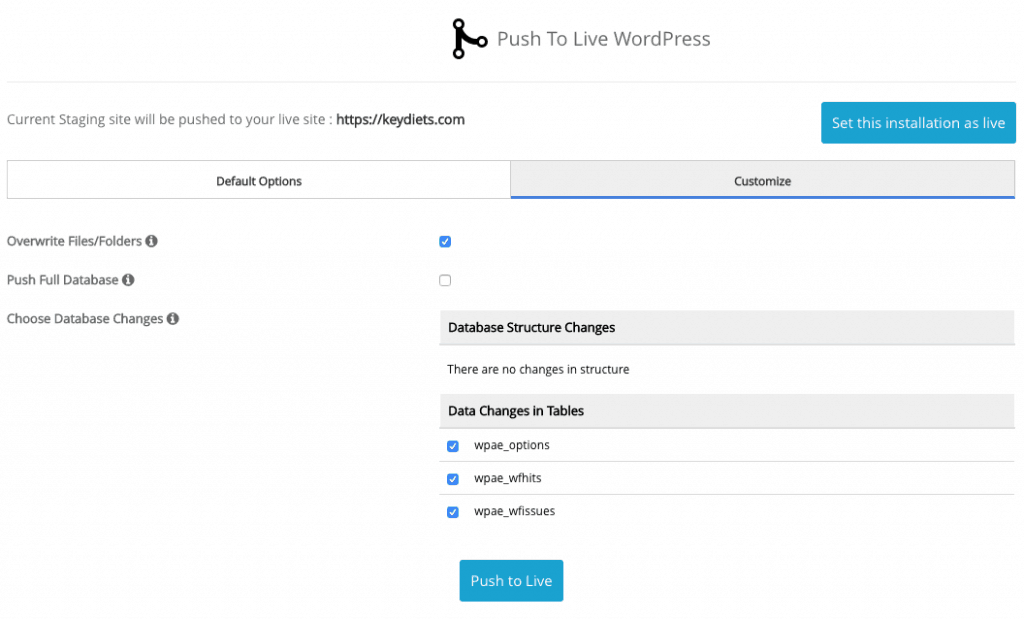 Custom Push To Live WordPress
