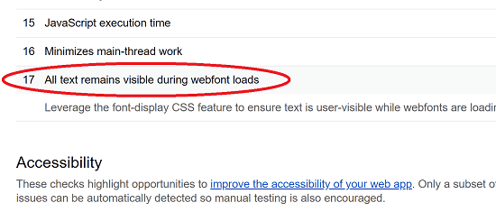 Google PageSpeed Check for webfont Loads