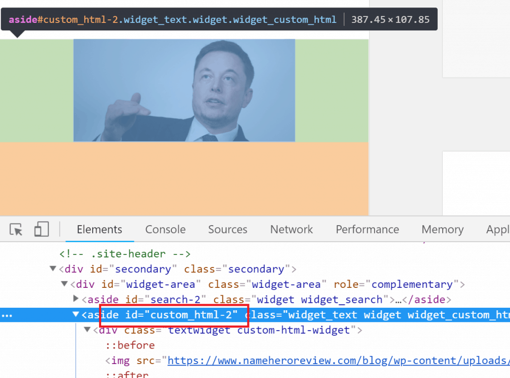 Select the Image Container