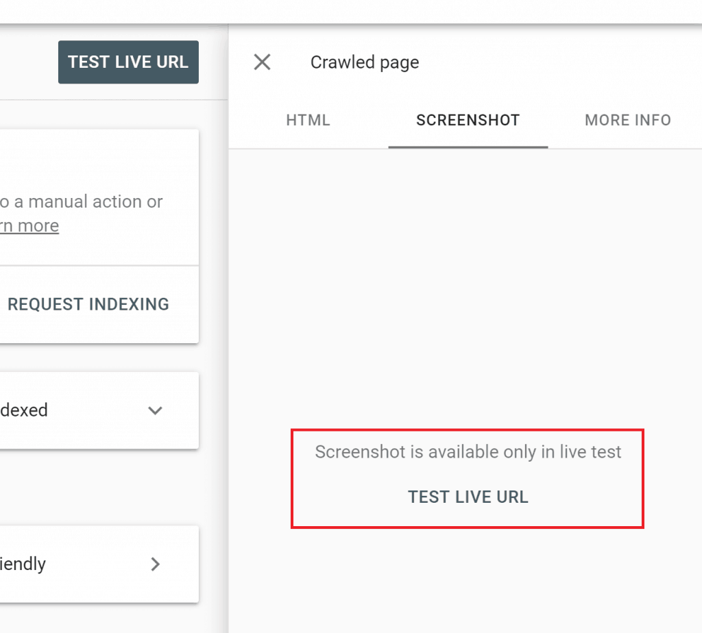 Test the live site in search console