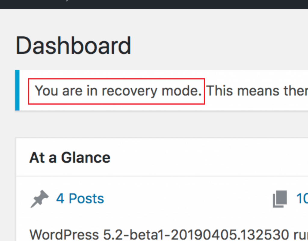 Recovery Mode in WordPress 5.2