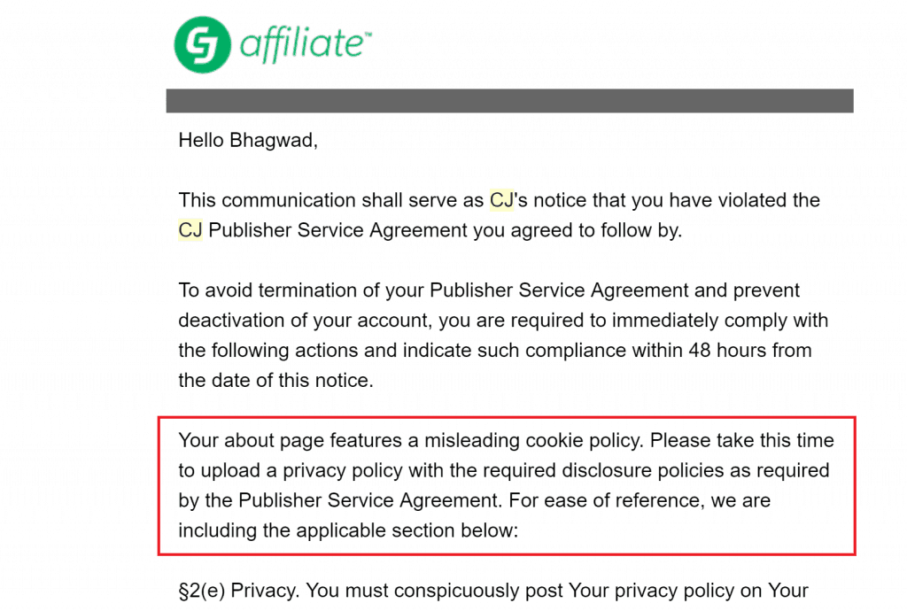 Affiliate Disclosure Warning from CJ