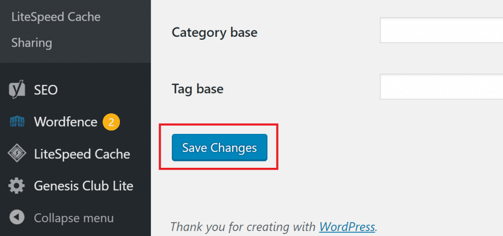 Save Changes to Permalinks