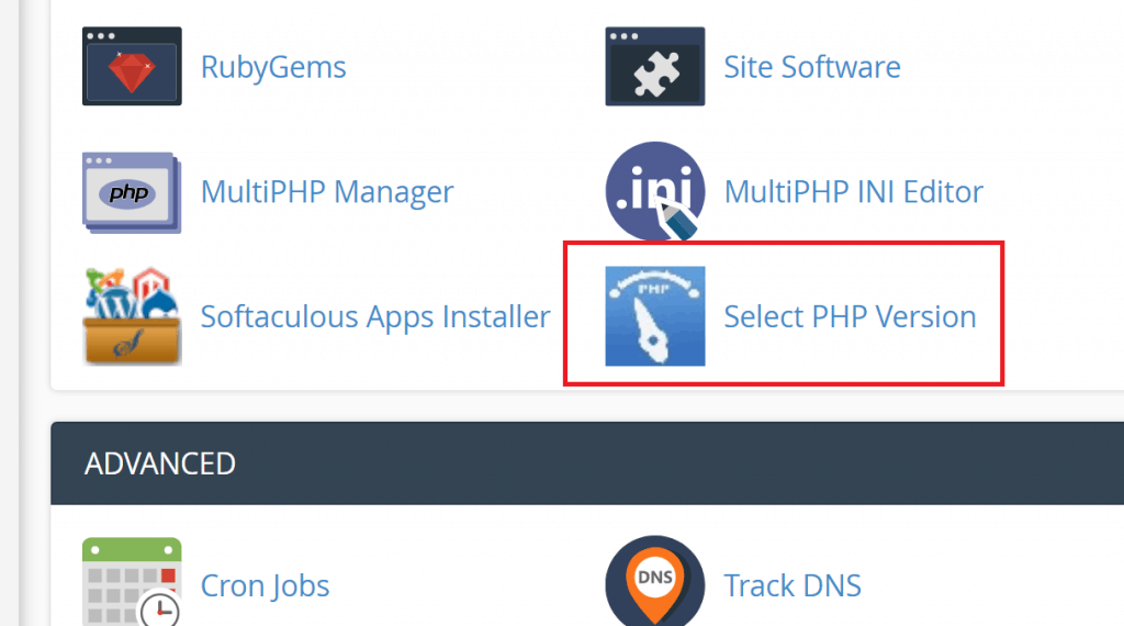 Select PHP Version in cPanel