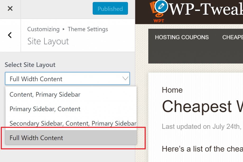 Choosing the Site Layout in WordPress