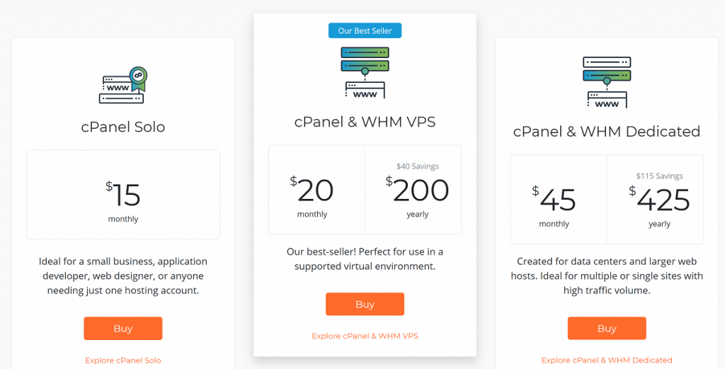 Old cPanel Pricing